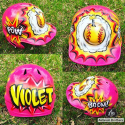 airbrush custom spray paint  Comic Ball Design (Full Helmet) shirts hats shoes outfit  graffiti 90s 80s design t-shirts  AirbrushBrothers helmet