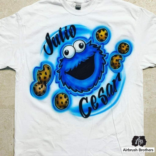 airbrush custom spray paint  Cookie Monster Design shirts hats shoes outfit  graffiti 90s 80s design t-shirts  AirbrushBrothers Shirt