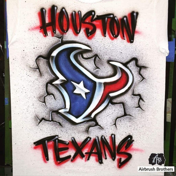 airbrush custom spray paint  Cracked Texans Logo Design shirts hats shoes outfit  graffiti 90s 80s design t-shirts  AirbrushBrothers Shirt
