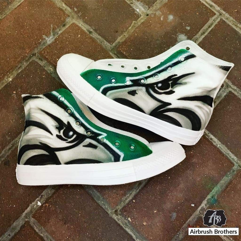airbrush custom spray paint  Custom Airbrush Eagles Shoes shirts hats shoes outfit  graffiti 90s 80s design t-shirts  AirbrushBrothers shoes