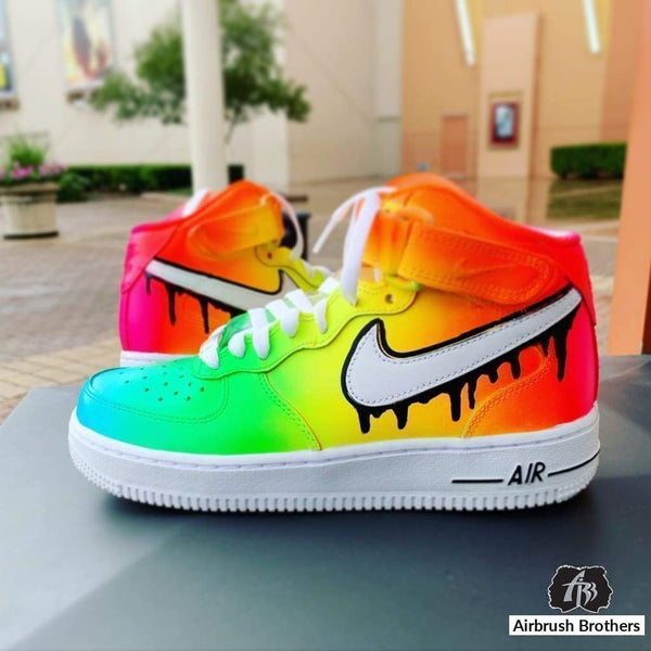 airbrush custom spray paint  Custom Neon Fade with Drip Check Shoe shirts hats shoes outfit  graffiti 90s 80s design t-shirts  AirbrushBrothers shoes