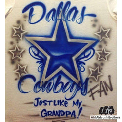 airbrush custom spray paint  Dallas Cowboys Fan Design shirts hats shoes outfit  graffiti 90s 80s design t-shirts  AirbrushBrothers Shirt