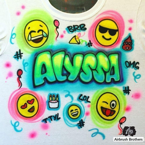 airbrush custom spray paint  Emoji Name Design shirts hats shoes outfit  graffiti 90s 80s design t-shirts  AirbrushBrothers Shirt