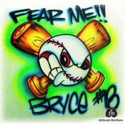 airbrush custom spray paint  Fear Me Baseball Design shirts hats shoes outfit  graffiti 90s 80s design t-shirts  AirbrushBrothers Shirt