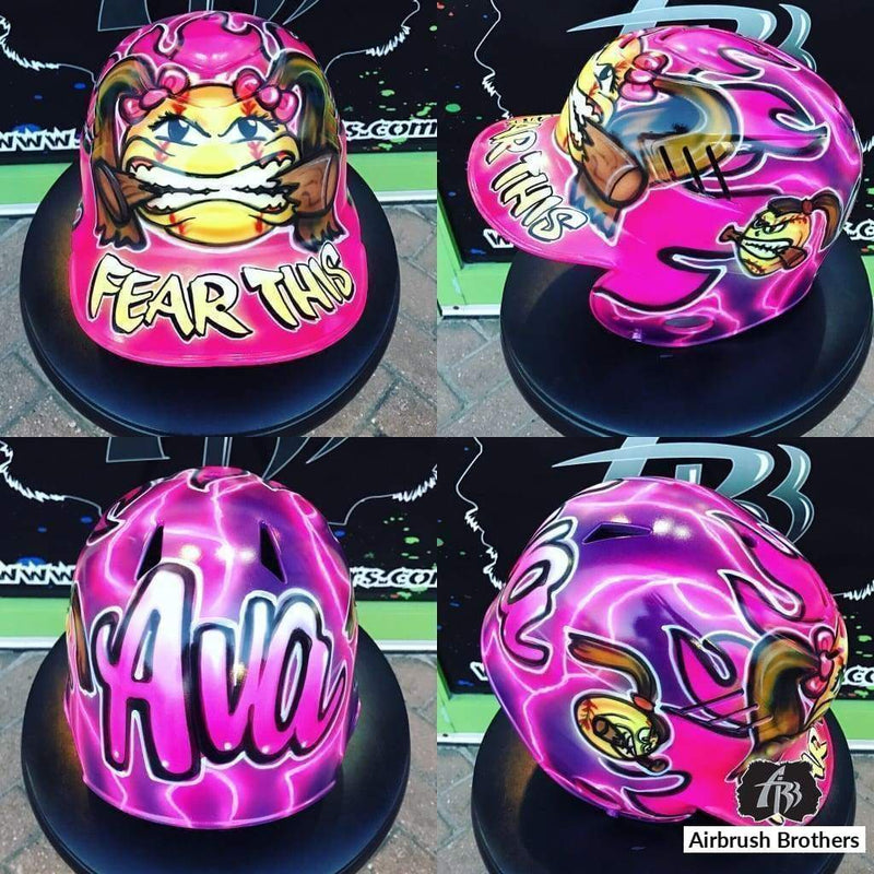 airbrush custom spray paint  Fear This Design (Full Helmet) shirts hats shoes outfit  graffiti 90s 80s design t-shirts  AirbrushBrothers helmet