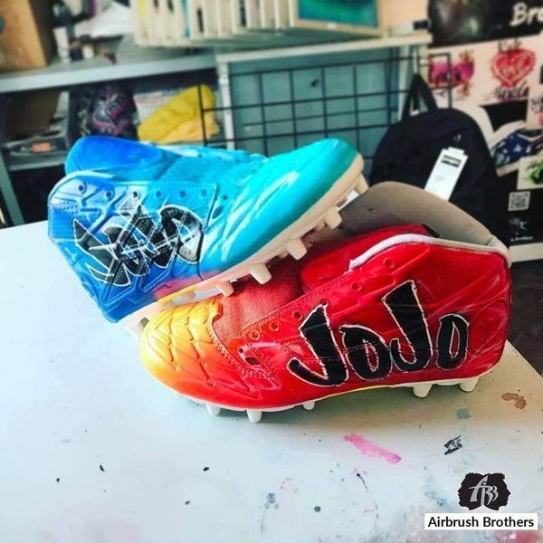 airbrush custom spray paint  Fire and Ice Cleats shirts hats shoes outfit  graffiti 90s 80s design t-shirts  AirbrushBrothers shoes