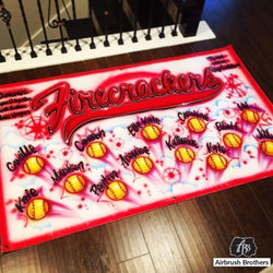 airbrush custom spray paint  Firecrackers Little League Banner shirts hats shoes outfit  graffiti 90s 80s design t-shirts  AirbrushBrothers Banner