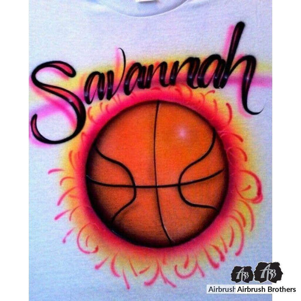 airbrush custom spray paint  Girly Basketball Design shirts hats shoes outfit  graffiti 90s 80s design t-shirts  AirbrushBrothers Shirt