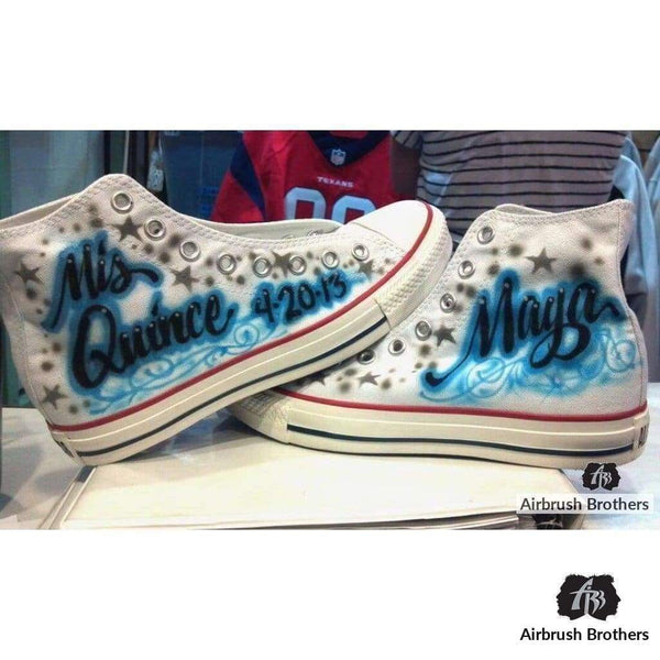 airbrush custom spray paint  Gray Stars Quince Shoes shirts hats shoes outfit  graffiti 90s 80s design t-shirts  AirbrushBrothers shoes