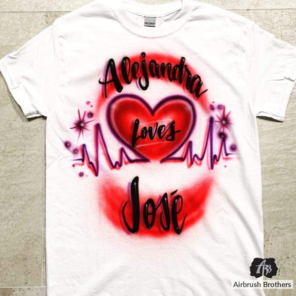 airbrush custom spray paint  Heart Beat Couple Design shirts hats shoes outfit  graffiti 90s 80s design t-shirts  AirbrushBrothers Shirt