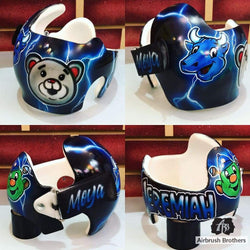 airbrush custom spray paint  Houston Mascots Design shirts hats shoes outfit  graffiti 90s 80s design t-shirts  AirbrushBrothers helmet