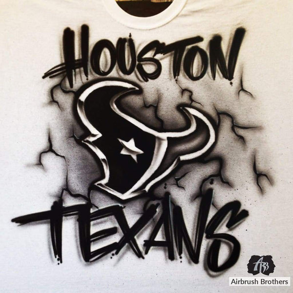 airbrush custom spray paint  Houston Texans Black and White Edition shirts hats shoes outfit  graffiti 90s 80s design t-shirts  AirbrushBrothers Shirt