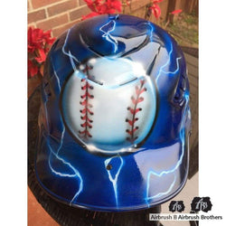 airbrush custom spray paint  Lightning  Baseball Design shirts hats shoes outfit  graffiti 90s 80s design t-shirts  AirbrushBrothers helmet