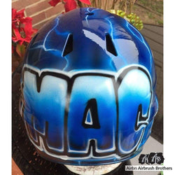 airbrush custom spray paint  Lightning Strikes Design shirts hats shoes outfit  graffiti 90s 80s design t-shirts  AirbrushBrothers helmet
