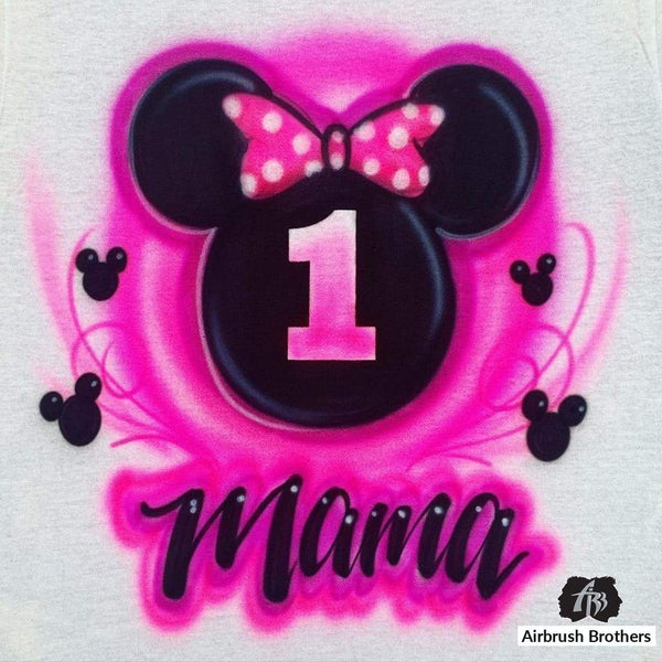 airbrush custom spray paint  Minnie Mouse Birthday Design shirts hats shoes outfit  graffiti 90s 80s design t-shirts  AirbrushBrothers Shirt