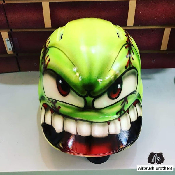 airbrush custom spray paint  Monster Softball Design shirts hats shoes outfit  graffiti 90s 80s design t-shirts  AirbrushBrothers helmet