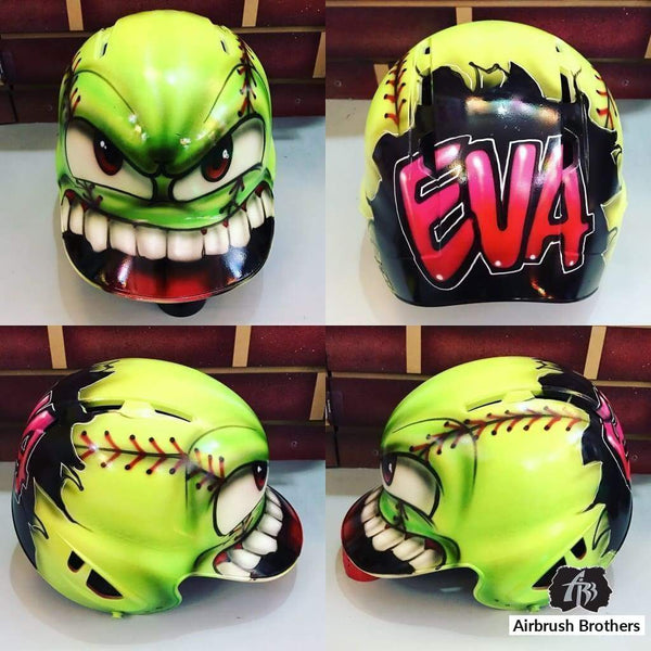 airbrush custom spray paint  Monster Softball Design (Full Helmet) shirts hats shoes outfit  graffiti 90s 80s design t-shirts  AirbrushBrothers helmet