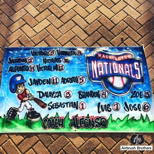 airbrush custom spray paint  Nationals Little League Banner shirts hats shoes outfit  graffiti 90s 80s design t-shirts  AirbrushBrothers Banner