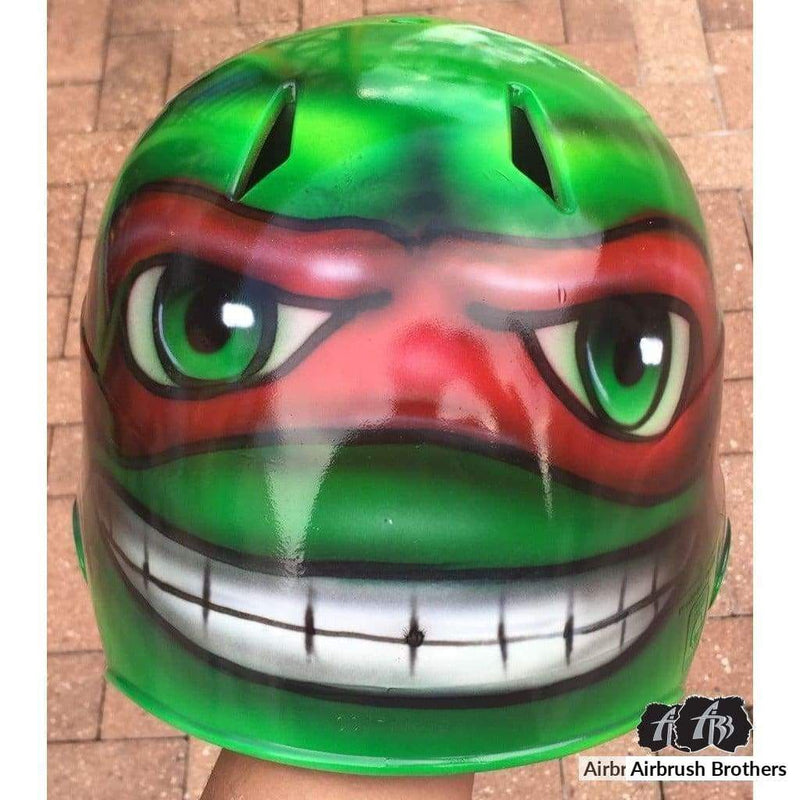 airbrush custom spray paint  Ninja Turtle Helmet Design shirts hats shoes outfit  graffiti 90s 80s design t-shirts  AirbrushBrothers helmet