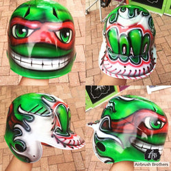 airbrush custom spray paint  Ninja Turtle Helmet Design (Full Helmet) shirts hats shoes outfit  graffiti 90s 80s design t-shirts  AirbrushBrothers helmet