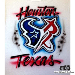 airbrush custom spray paint  Rockets/Texans Design shirts hats shoes outfit  graffiti 90s 80s design t-shirts  AirbrushBrothers Shirt