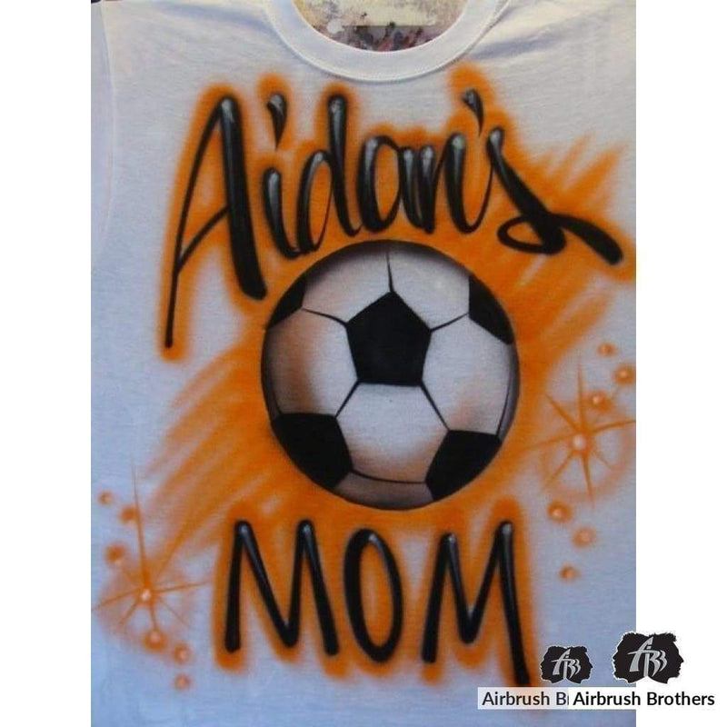 airbrush custom spray paint  Soccer Ball Design shirts hats shoes outfit  graffiti 90s 80s design t-shirts  AirbrushBrothers Shirt