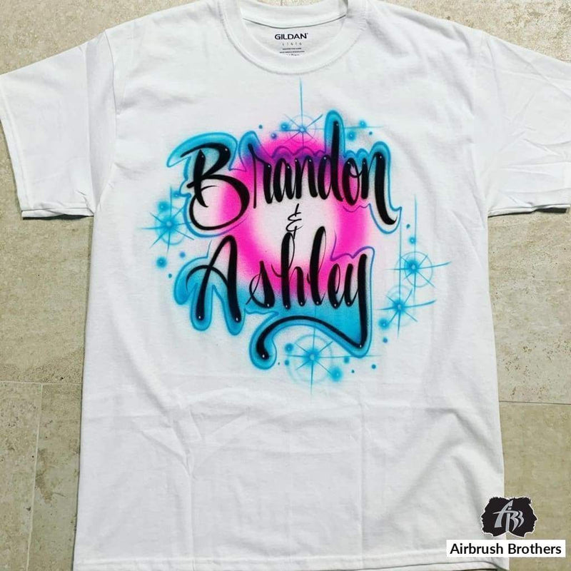 airbrush custom spray paint  Sparkling Couple Design shirts hats shoes outfit  graffiti 90s 80s design t-shirts  AirbrushBrothers Shirt