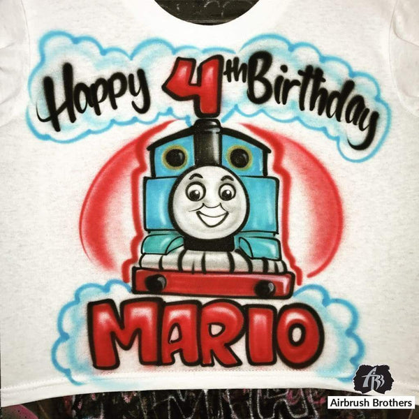 airbrush custom spray paint  Thomas the Train Design shirts hats shoes outfit  graffiti 90s 80s design t-shirts  AirbrushBrothers Shirt