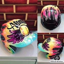 airbrush custom spray paint  Winged Ball Design (Full Helmet) shirts hats shoes outfit  graffiti 90s 80s design t-shirts  AirbrushBrothers helmet