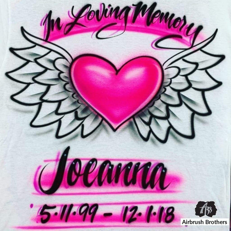 airbrush custom spray paint  Winged Heart Design shirts hats shoes outfit  graffiti 90s 80s design t-shirts  AirbrushBrothers Shirt