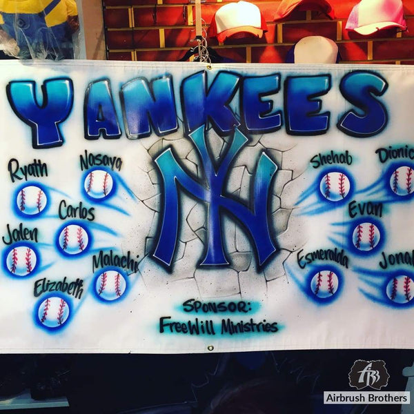airbrush custom spray paint  Yankees Little League Banner shirts hats shoes outfit  graffiti 90s 80s design t-shirts  AirbrushBrothers Banner