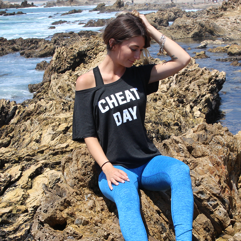 Cheat Day T-shirt is a trendy lightweight flowy shirt designed with a round hem and scoop neck that every wardrobe needs.