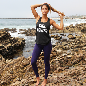 Girl Power is a trendy lightweight tank top designed with a round hem and casual racerback