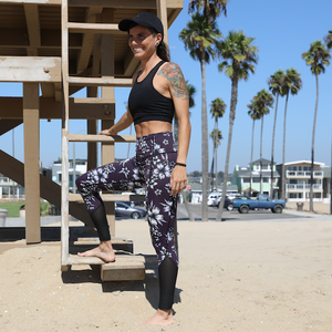 Yoga Pants - Plum Hibiscus