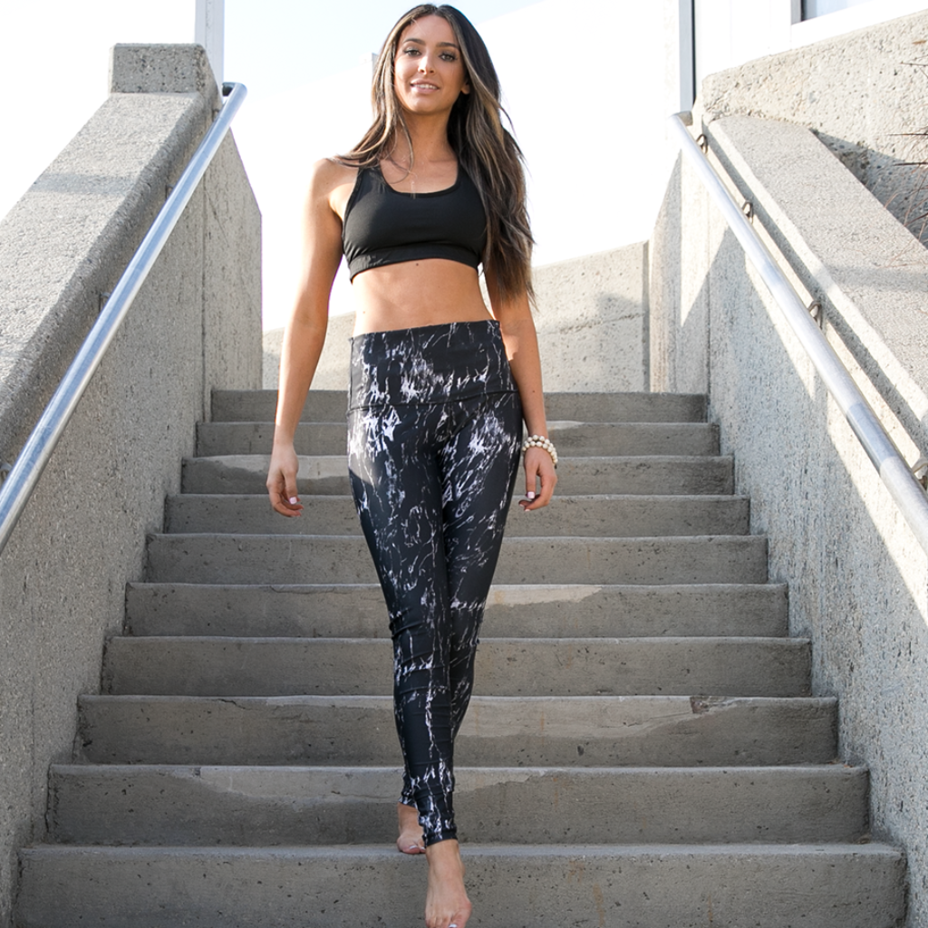 Yoga Pants - Black Marble