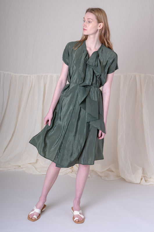 KIRA DRESS IN GREEN BOUNCY CUPRO