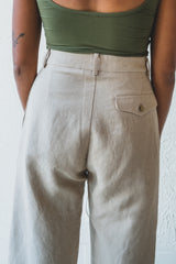 WILLIAM PANT IN KHAKI DOUBLE GAUZE
