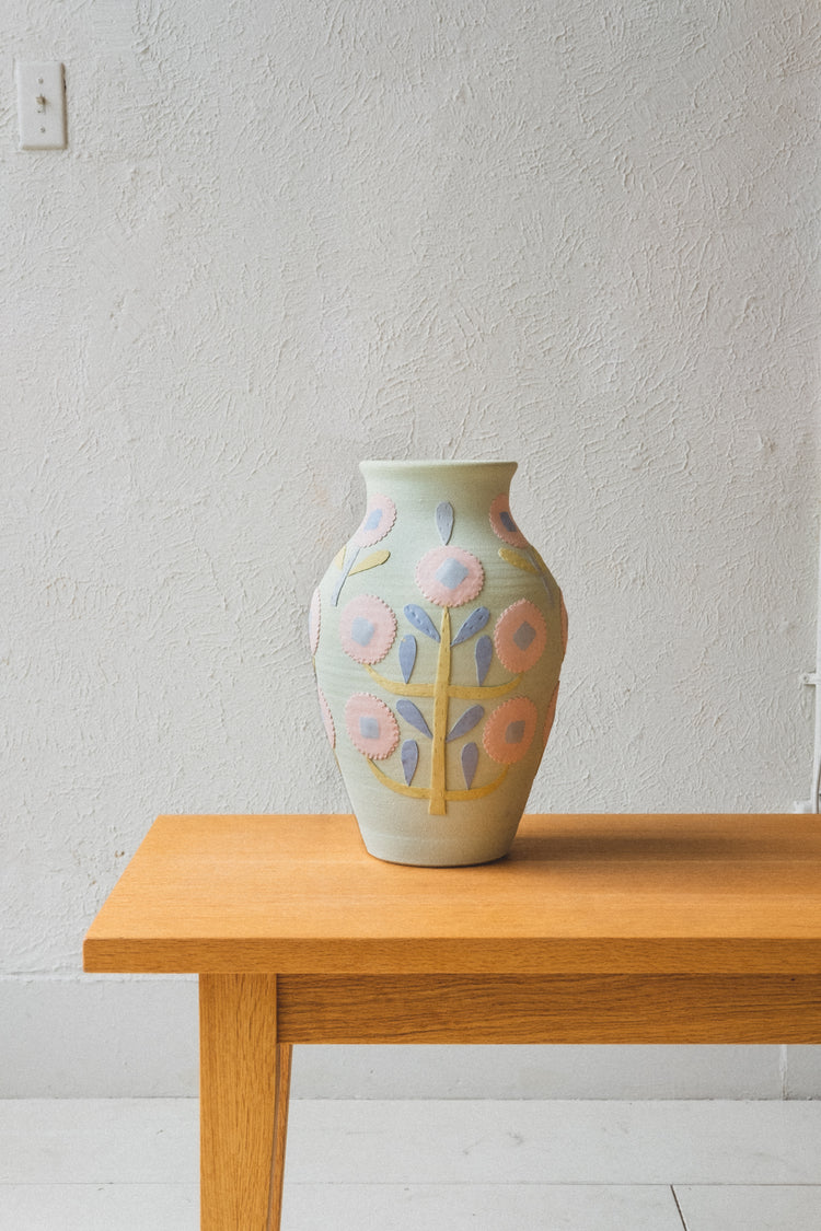 LARGE VASE IN GREEN FLORAL