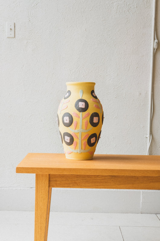 LARGE VASE IN YELLOW FLORAL