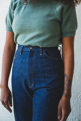 HIGH WAIST DENIM PANTS IN ONE YEAR WASH