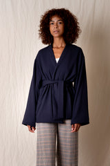 SOFT JACKET IN NAVY WOOL