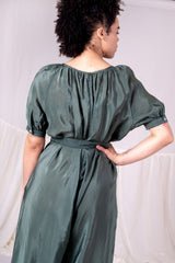 THEOS JUMPSUIT IN GREEN BOUNCY CUPRO