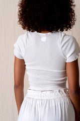 SUPER FINE RIB BABY TEE IN WHITE