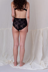 HIGH WAIST PANTY IN BLACK SILK MESH