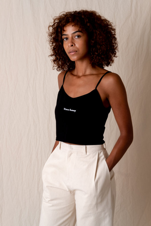 LOGO CROP TANK IN BLACK