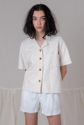 JOHAN SHIRT IN CREAM CANVAS