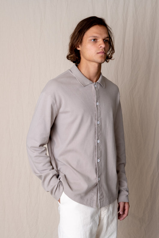 PLACKET POLO IN TAUPE FOG