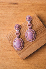 DOUBLE STONE EARRINGS WITH RHODONITE