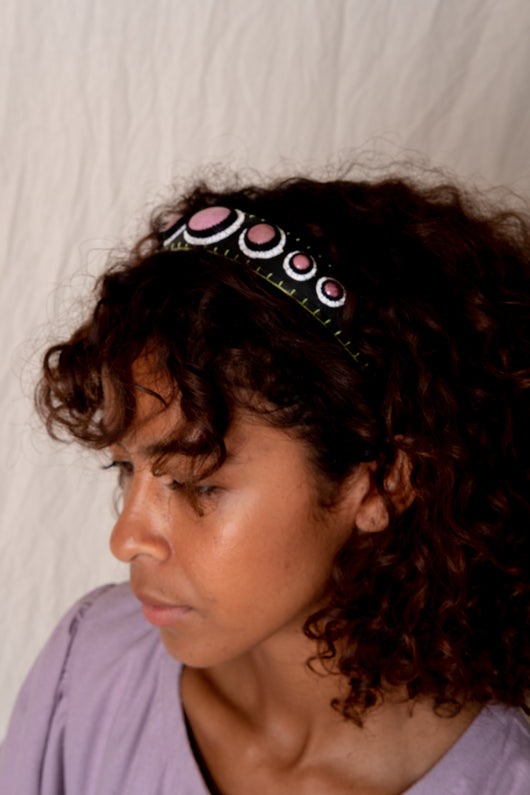 BLACK RHODONITE HEADBAND