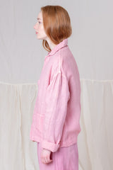 SHORT ON TIME JACKET IN SAPPY PINK LINEN